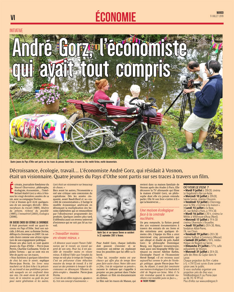 Article du journal L'est-éclair sur la tournée de projection du film « Lettre à G. - Repenser la société avec André Gorz »